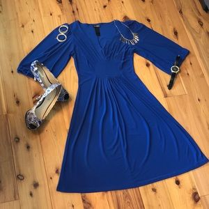 Cobalt Blue Fit Flare Dress by Bisou Bisou-Size 4